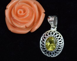 NATURAL UNTREATED CITRINE PENDANT 925 STERLING SILVER JE324