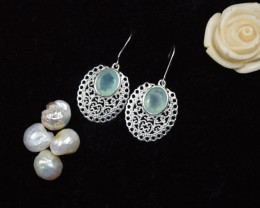 NATURAL UNTREATED AQUA CHALCEDONY EARRINGS 925 STERLING SILVER JE325