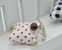 NATURAL UNTREATED GARNET RING 925 STERLING SILVER JE329