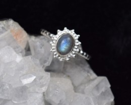 NATURAL UNTREATED LABRADORITE RING 925 STERLING SILVER JE