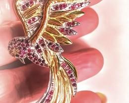 Bird of Life - 14kt Gold over Sterling Silver Brooch Garnet & Tanzanite