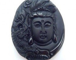 125.5ct Special Design Natural Obsidan Carved Guanyin And Dragon Pendant(18