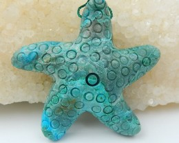 91.5ct On Sale Natural Chrysocolla Carved Starfish Pendant (18071205)