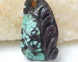 63ct Special Gift Natural Turquoise Craved Cabochon (Can Be Drilled)(180712
