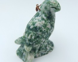 112ct New Arrival  Natural Moss Agate Craved Bird Pendant (18071208)
