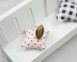 NATURAL UNTREATED TIGER EYE RING 925 STERLING SILVER JE333