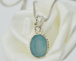 NATURAL UNTREATED CHALCEDONY PENDANT 925 STERLING SILVER JE334