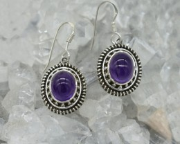 NATURAL UNTREATED AMETHYST EARRINGS 925 STERLING SILVER JE335