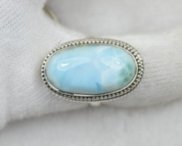 NATURAL UNTREATED HUGE LARIMAR RING 925 STERLING SILVER JE336