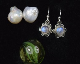 NATURAL UNTREATED RAINBOW MOONSTONE EARRINGS 925 STERLING SILVER JE338
