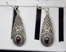 NATURAL UNTREATED GARNET EARRINGS 925 STERLING SILVER JE341