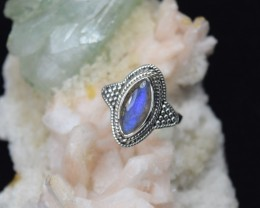 NATURAL UNTREATED LABRADORITE RING 925 STERLING SILVER JE342