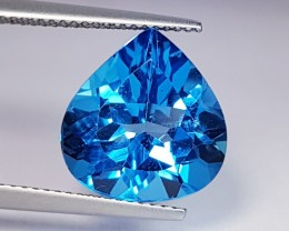 "8.75 ct ""IGI Certified""Wonderful Pear Cut Natural Swiss Blue Topa"