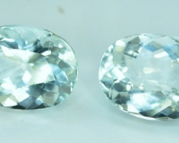 No Reserve - 6.60 cts Calibrated Beautifull Oval Aquamarine Gemstones Pair
