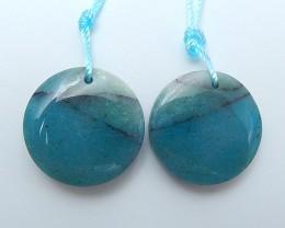 41.5ct Beautiful Natural Chrysocolla And Obsidian Intarsia Earring Pair(180