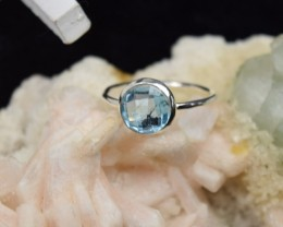 NATURAL UNTREATED BLUE TOPAZ RING 925 STERLING SILVER JE345