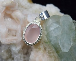 NATURAL UNTREATED ROSE QUARTZ PENDANT 925 STERLING SILVER JE346