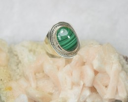 NATURAL UNTREATED MALACHITE RING 925 STERLING SILVER JE348