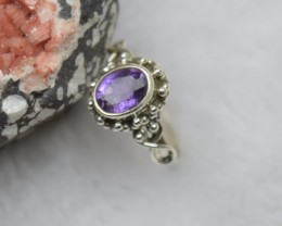 NATURAL UNTREATED AMETHYST RING 925 STERLING SILVER JE351