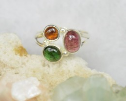 NATURAL UNTREATED TOURMALINE RING 925 STERLING SILVER JE354