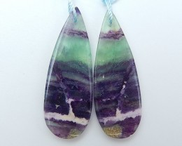 38.5ct Natural Water Drop Rainbow Fluorite Earring Pair(18071315)