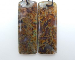 50ct Hot Sale Natural Moss Agate Earring Pair(18071316)