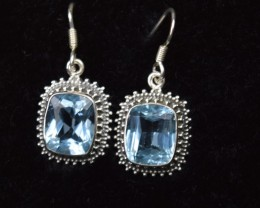NATURAL UNTREATED BLUE TOPAZ EARRINGS 925 STERLING SILVER JE359