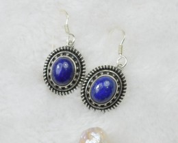 NATURAL UNTREATED LAPIS LAZULI EARRINGS 925 STERLING SILVER JE362