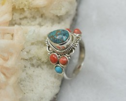 NATURAL UNTREATED TURQUOISE RING 925 STERLING SILVER JE366