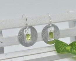 NATURAL UNTREATED PERIDOT EARRINGS 925 STERLING SILVER JE368