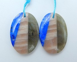 30ct Hot Sale Natural Sun Stone. Lapis Lazuli And Labradorite Intarsia Earr