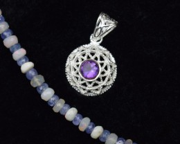 NATURAL UNTREATED AMETHYST PENDANT 925 STERLING SILVER JE370