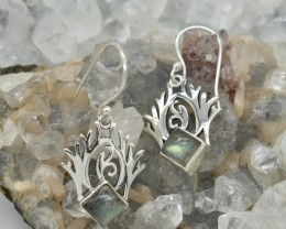 NATURAL UNTREATED LABRADORITE EARRINGS 925 STERLING SILVER JE371