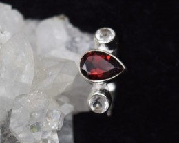 NATURAL UNTREATED GARNET RING 925 STERLING SILVER JE375