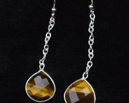 NATURAL UNTREATED TIGER EYE EARRINGS 925 STERLING SILVER JE377