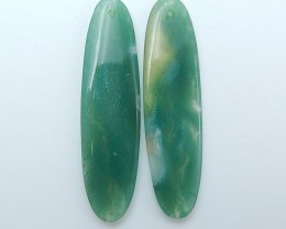 27.5ct Hot Sale Natural Oval Moss Agate Earring Pair(18071330)