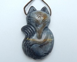 49.5ct On Sale Natural Picasso Jasper Carved Fox Pendant (18071334)