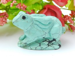 56ct Special Gift Natural Turquoise Craved Rabbit Ornament  (18071335)