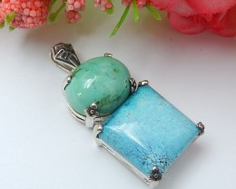 57ct For lover Natural Turquoise With 925 Silver Charm Pendant (18071336)