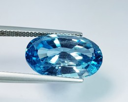 "13.78 ct ""IGI Certified"" Exclusive Oval Cut Natural Blue Zircon"