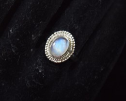 NATURAL UNTREATED RAINBOW MOONSTONE RING 925 STERLING SILVER JE378