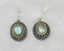 NATURAL UNTREATED LABRADORITE EARRINGS 925 STERLING SILVER JE380