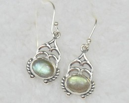 NATURAL UNTREATED LABRADORITE EARRINGS 925 STERLING SILVER JE386