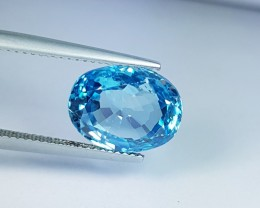 "8.98 ct ""IGI Certified"" Fantastic Oval Cut Natural Blue Zircon"