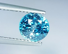 """2.38 ct """"IGI Certified"""" Awesome  Round Cut Natural Blue Zircon"""