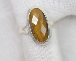 NATURAL UNTREATED TIGER EYE RING 925 STERLING SILVER JE390