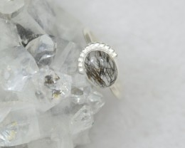 NATURAL UNTREATED RUTILATED QUARTZ RING 925 STERLING SILVER JE393