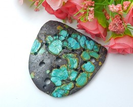 159.5ct New Arrival Natural Turquoise Craved Flower Cabochon (18071413)