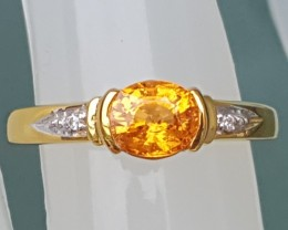 """Untreated """"Fanta"""" Spessartie In Silver  with CZ accents"""