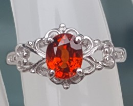 SIZE 9 Untreated Mandarin Spessartie In Silver  with CZ accents